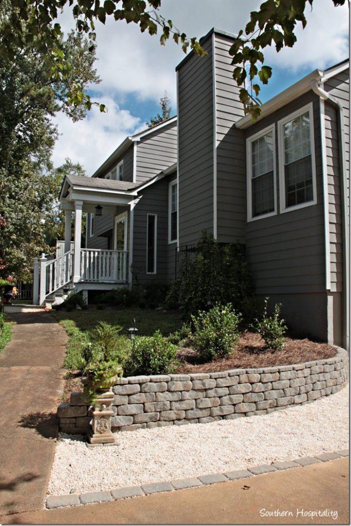 sidewalk and retaining wall