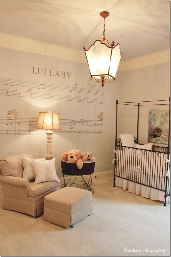 nursery decorated with lullaby mural