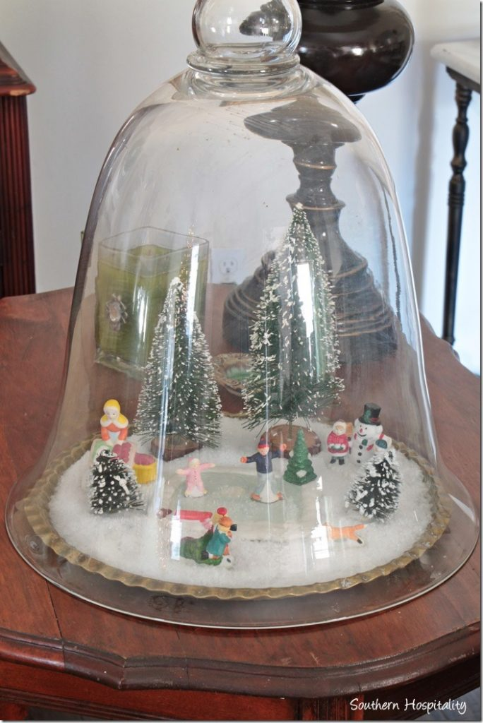 cloche with winter scene