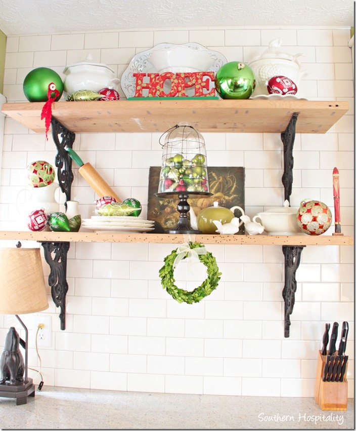 rustic shelves christmas