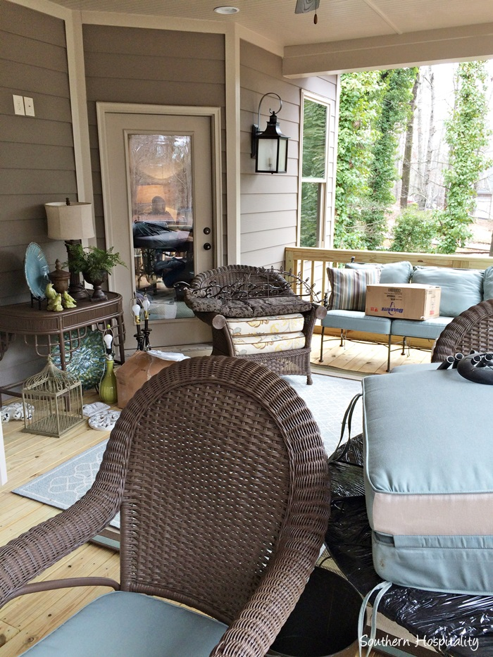 Great They had a huge screened porch in the old house and brought the furniture over She us got plenty for this porch too and it will be fun getting all of this