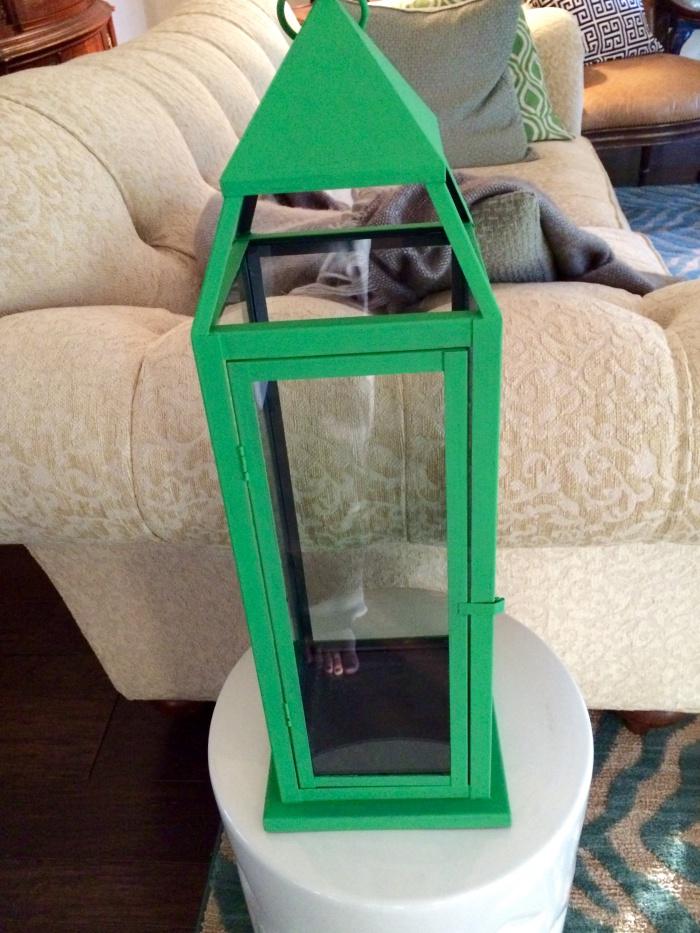 green painted lantern
