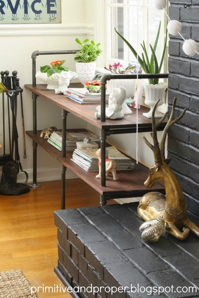 living room industrial shelves