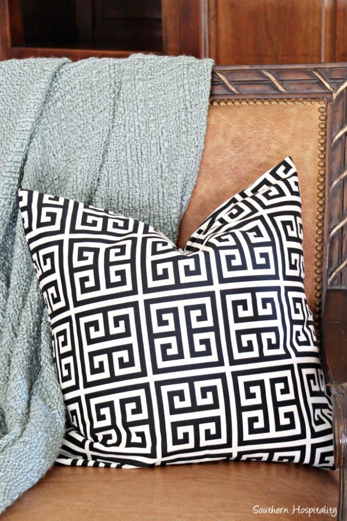 black and white greek key pillow