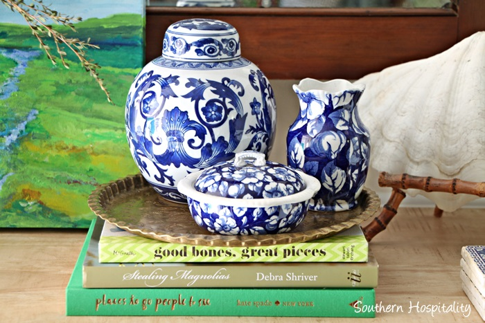 blue and white accessories