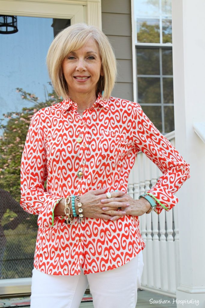coral white blouse with turquoise