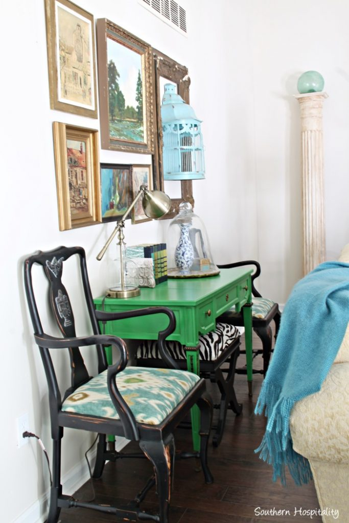 These 2 Chairs Started Out Life In My First Georgia House Too And Painting The Yardsale Desk Green Was A Fun Update This Year Collected Vintage Artwork Has