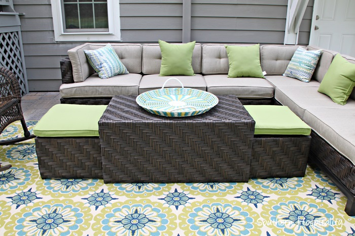 Vintage patio coffee table with seating