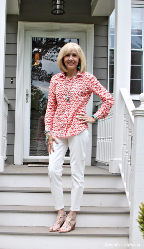 Fashion over 50: White Pants & Spring Colors - Southern Hospitality