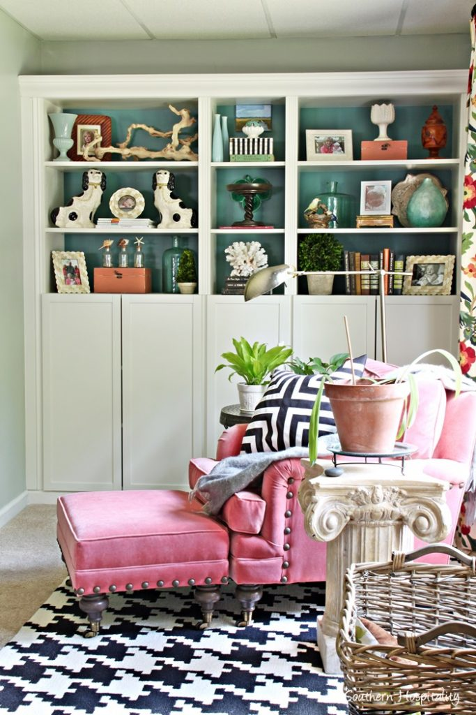 ballard chair and bookcases