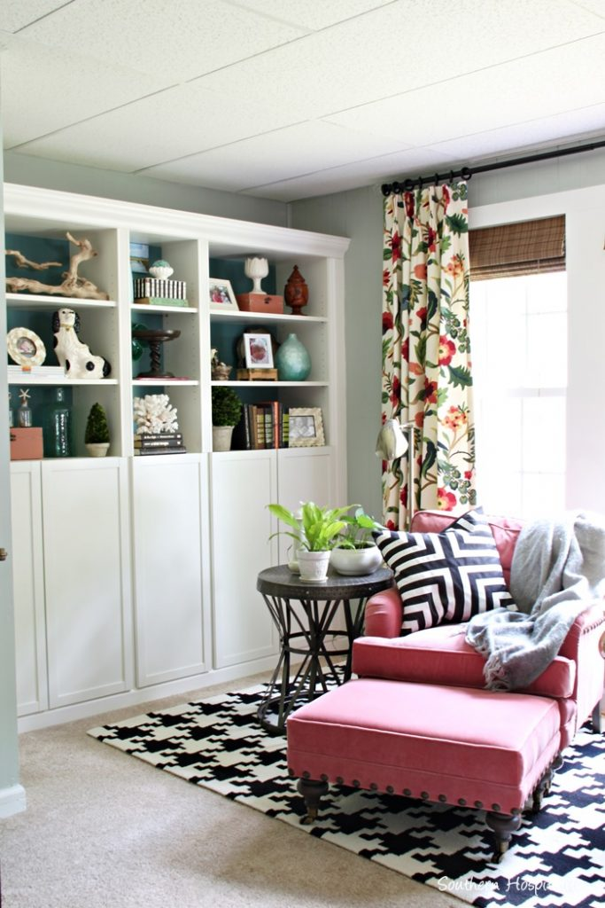 ballard coral chair and bookcases