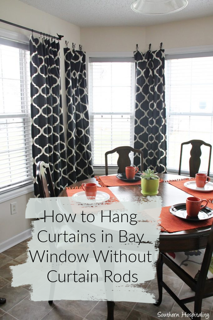 how to hang curtains in bay window without curtain rod