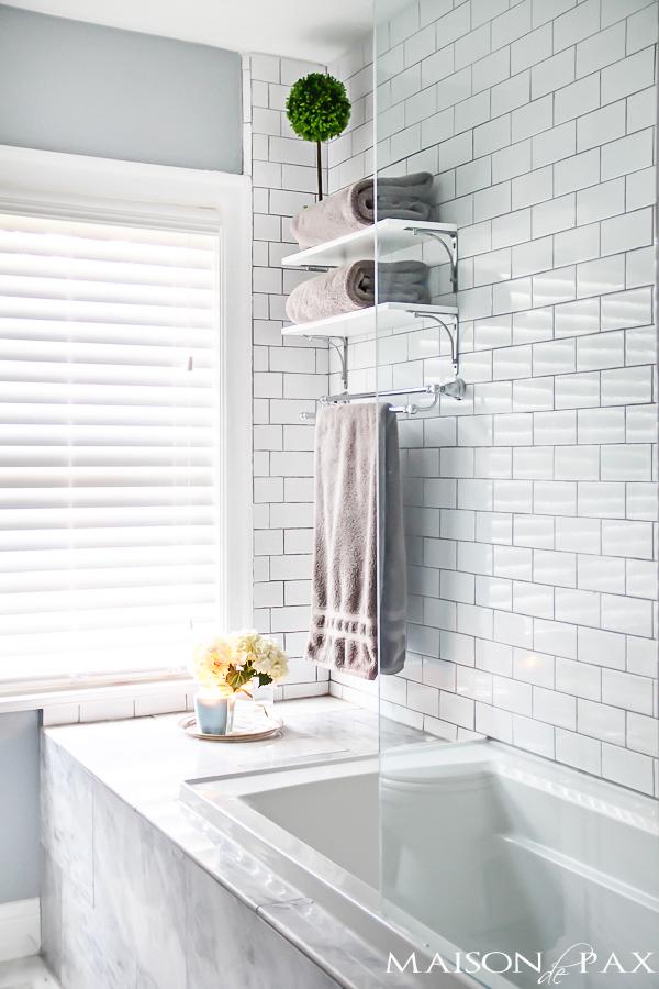 Elegant Small Bath Ideas glass shower wall