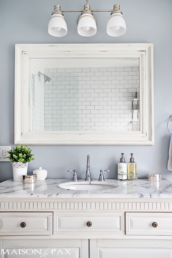 Amazing Small Bath Ideas white distressed framed mirror