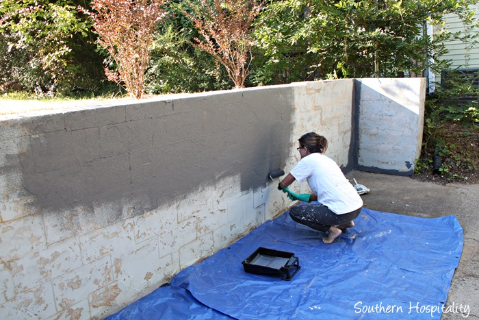 Painted Cinder Block Retaining Wall The Image Kid Has It