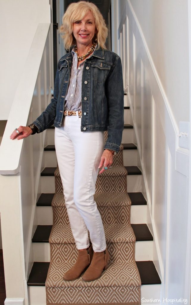 Fashion Over 50 White Jeans In Fall Southern Hospitality