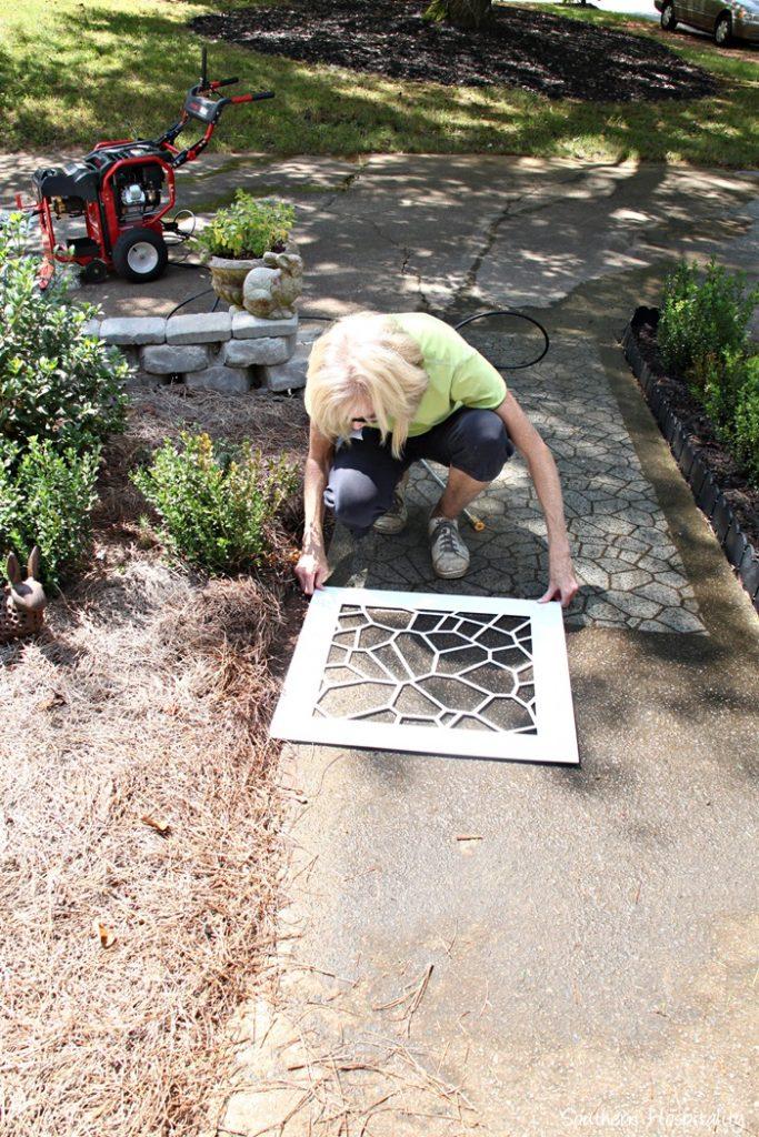placing stencil