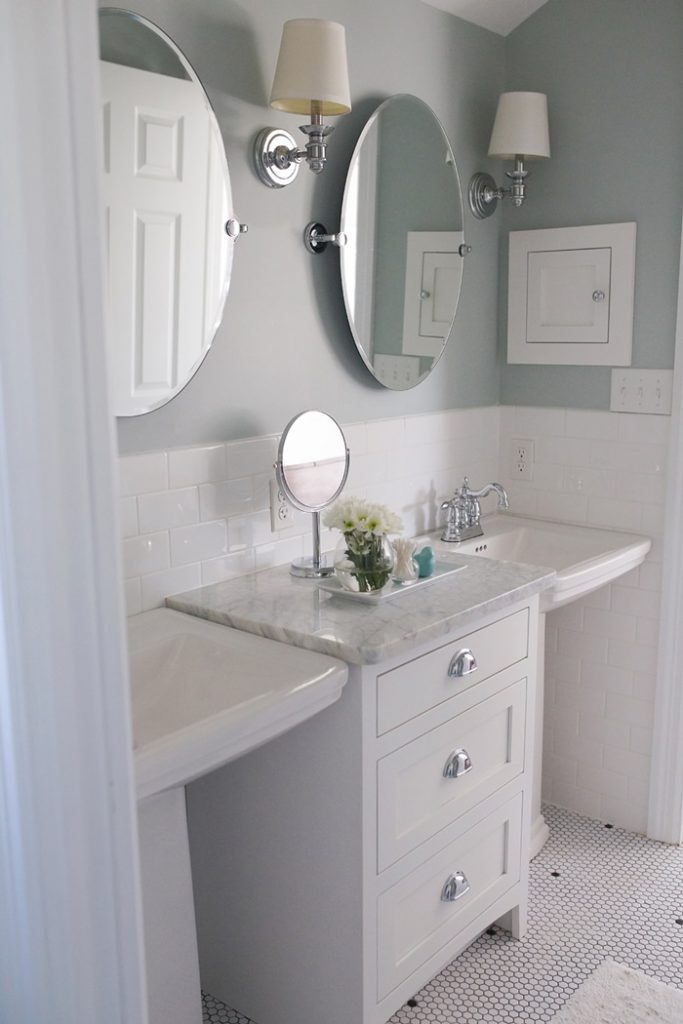 double pedestal sink bathroom feature friday house 214 design southern hospitality 18180