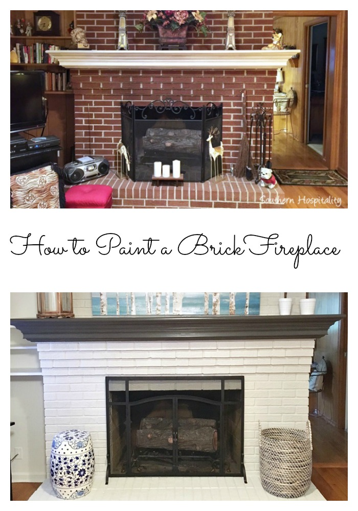 How to paint a brick fireplace - How to make a brick fireplace look modern ...