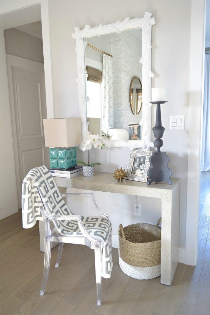 console-table-styling-white-wood-mirror-ghost-chair-greek-key-throw-entry-table