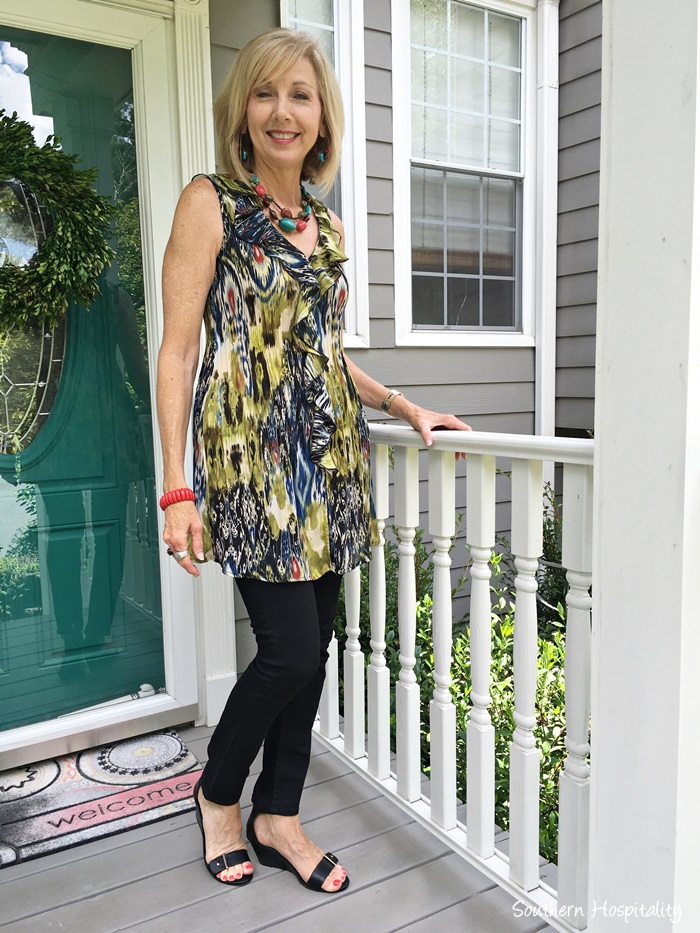 Fashion Over 50 Black Pants And Ruffle Top Southern Hospitality