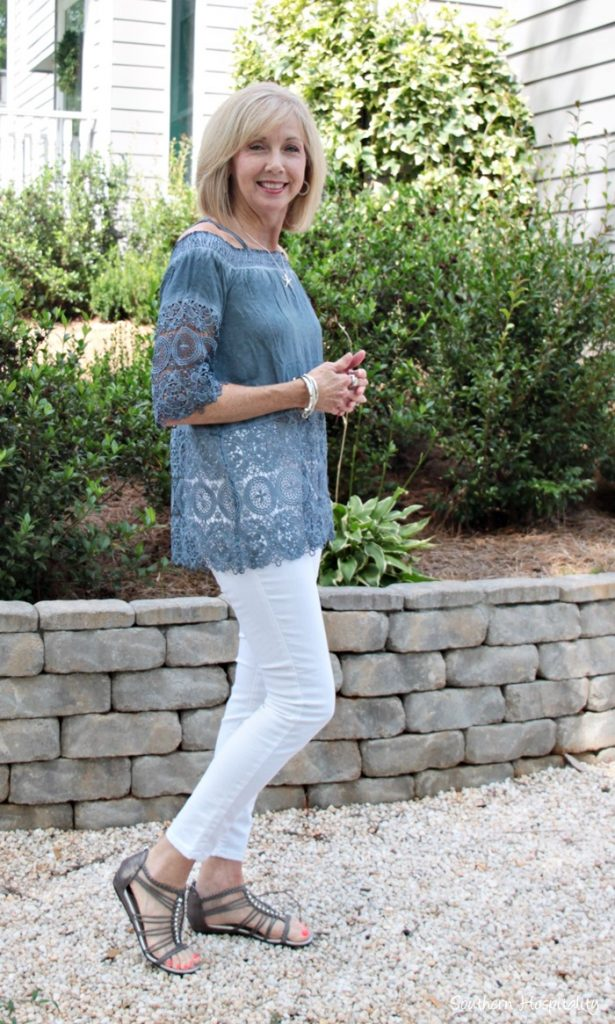 Fashion Over 50 Indigo Blue Lace Top Southern Hospitality