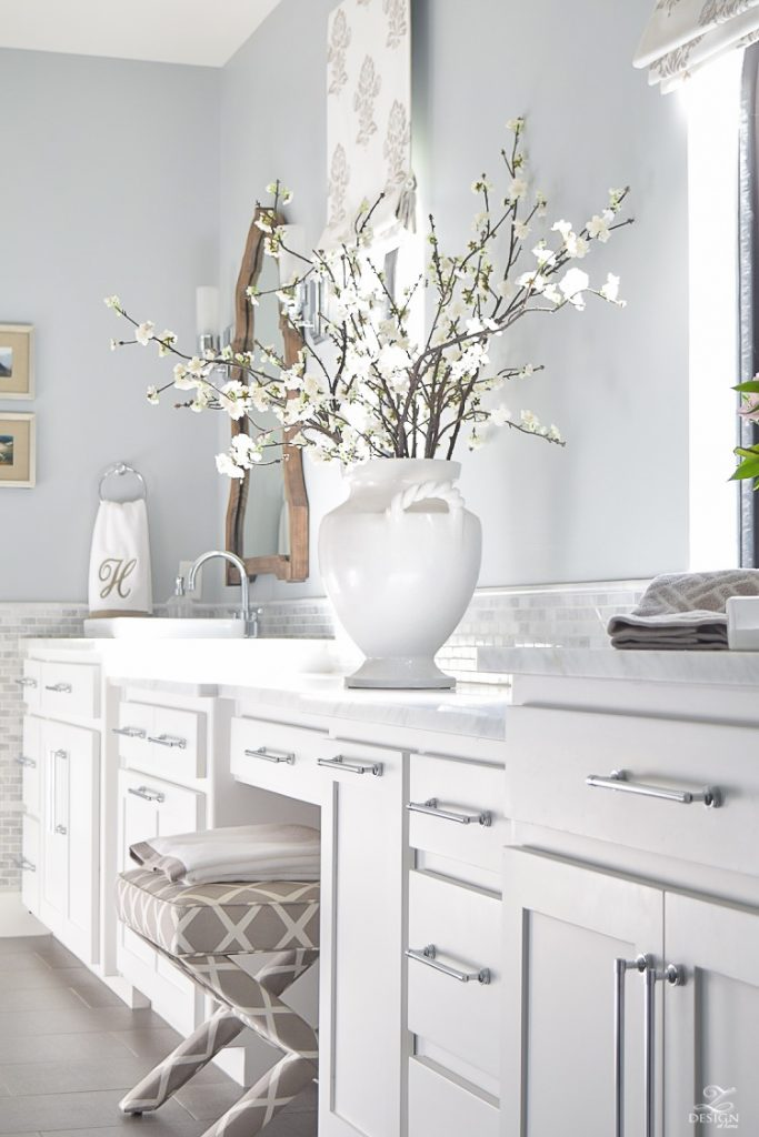 Feature friday z design at home southern hospitality for Master bathroom ideas with white cabinets