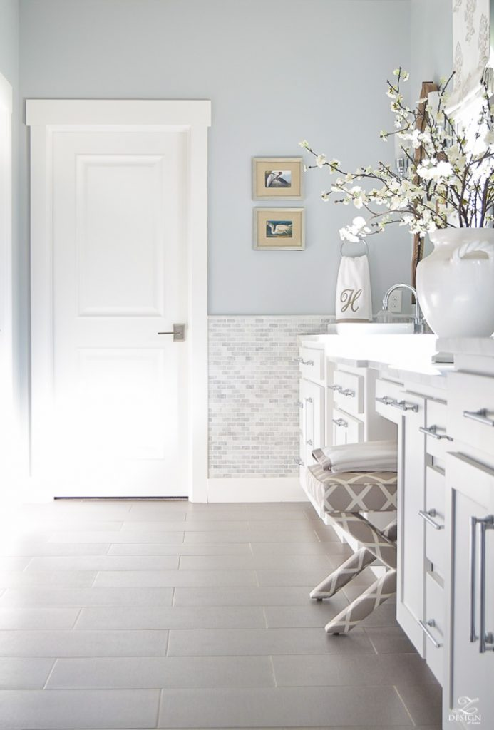 Elegant neutral transitional master bath white cabinets carrara marble