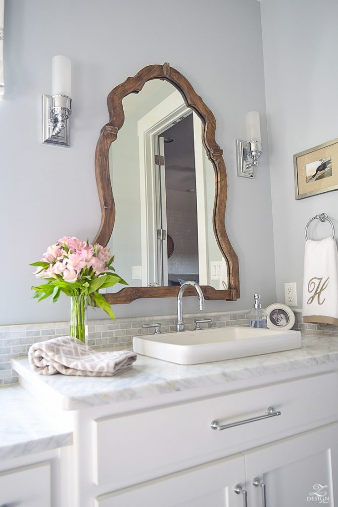 neutral-transitional-master-bath-white-cabinets-carrara-marble-benjamin-moore-silver-lake-Uttermost-Augusta-Wooden-Mirror-3-1