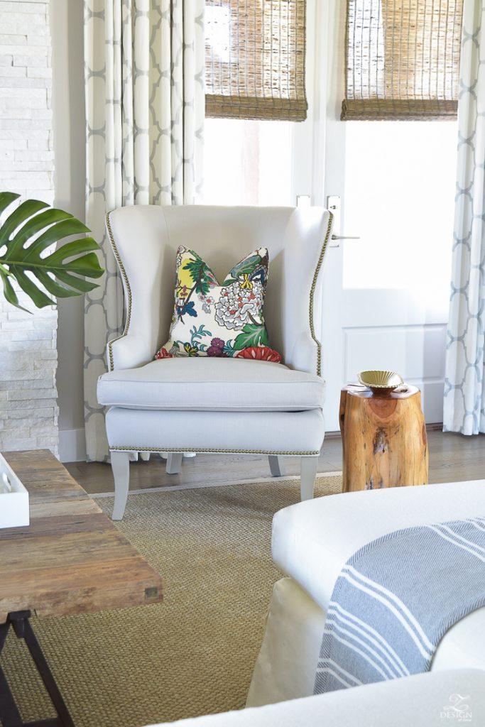 schumacher-chiang-mai-dragon-fabric-Ballard-Designs-thurston-wing-chair-summer-living-room