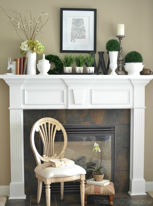 Late Summer Mantel with 'state' typography art, antique books, botanicals and white ware - Sondra Lyn at Home