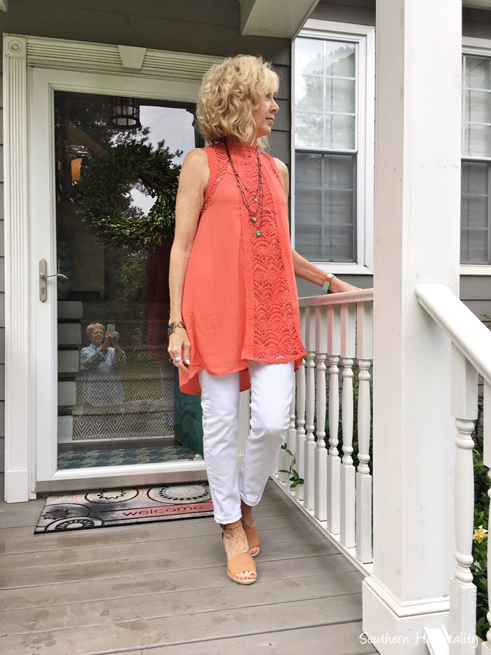 Fashion Over 50 White Jeans And Coral Southern Hospitality
