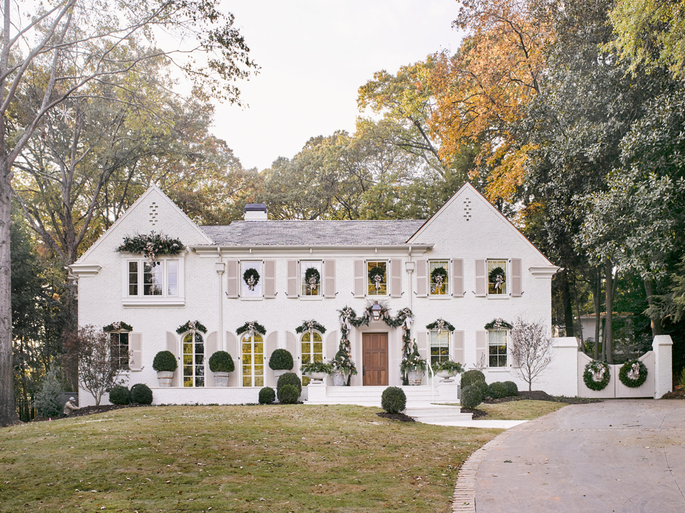 Best elegant exterior Christmas decor on Atlanta showhouse 2016 French Country white brick home