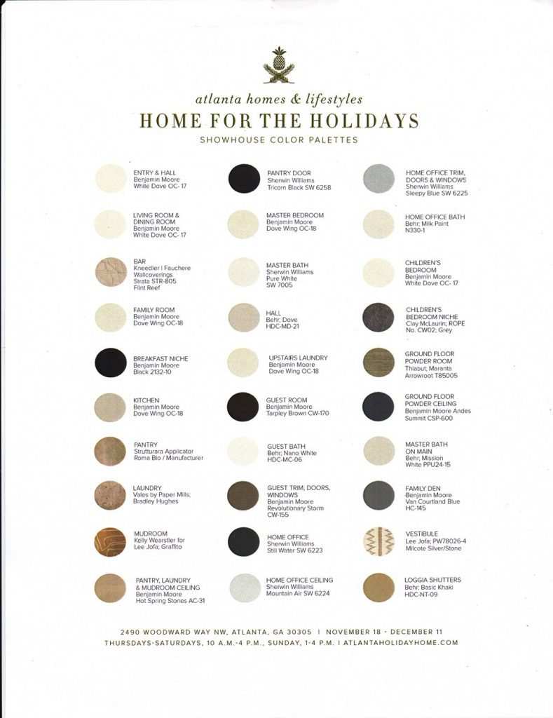 Paint colors for Atlanta showhouse 2016 Home for the Holidays