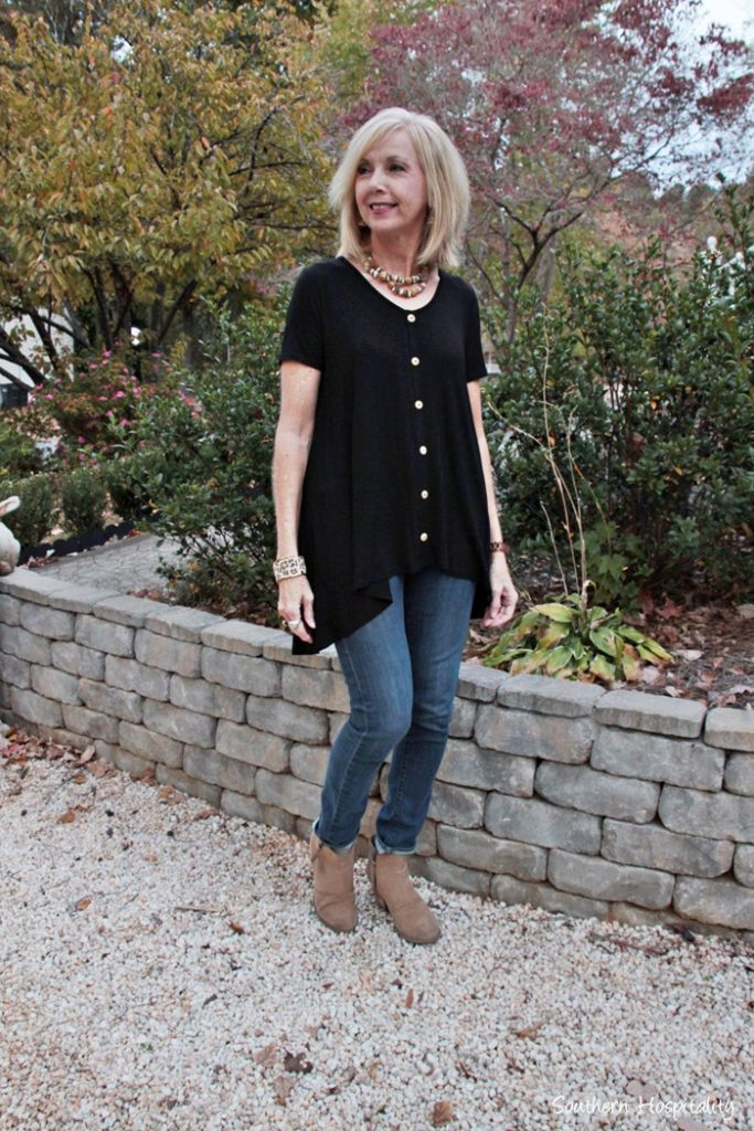 Fashion Over 50 Black Top And Jeans Southern Hospitality