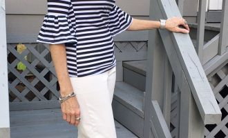 Fashion over 50:  Striped Off the Shoulder Top