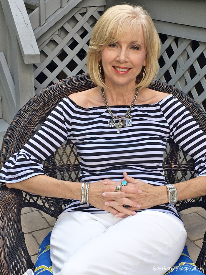 Fashion over 50: Striped Off the Shoulder Top - Southern