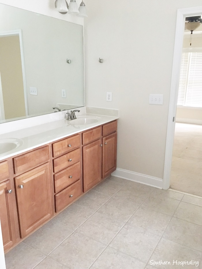 Awesome The double vanity is nice too and I ull probably paint these cabinets and we will eventually do a new countertop and probably add some tile to the wall and