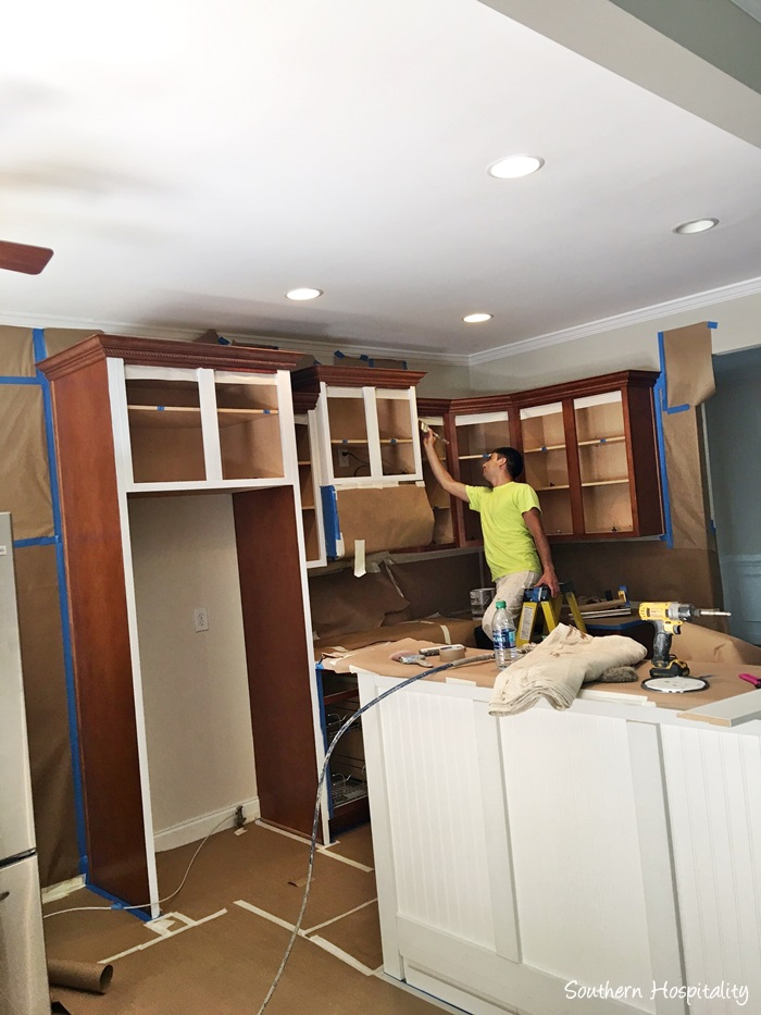 Our painted kitchen cabinets southern hospitality for Kitchen cabinet painting atlanta