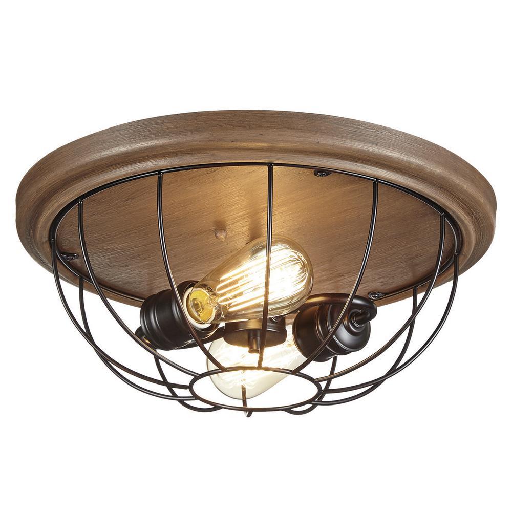 Home Decorators Collection 2-Light Vintage Bronze Flushmount