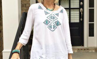 Fashion over 50:  Boho Top and Fall Booties