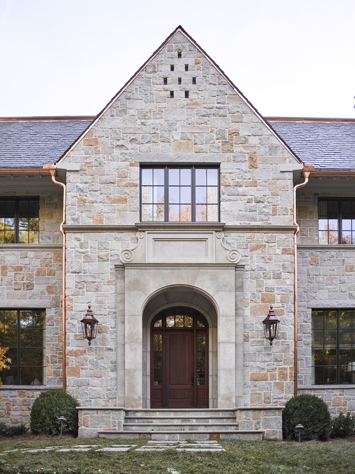Custom brick and granite English country home facade in Buckhead