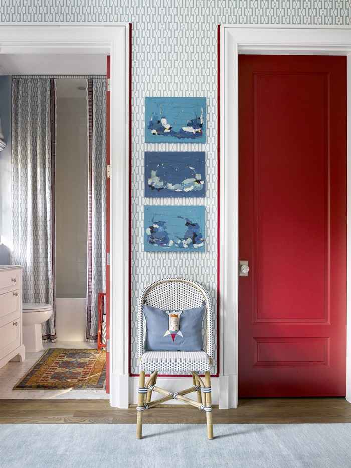 Beautiful red door in child's room of Atlanta holiday showhouse 2017
