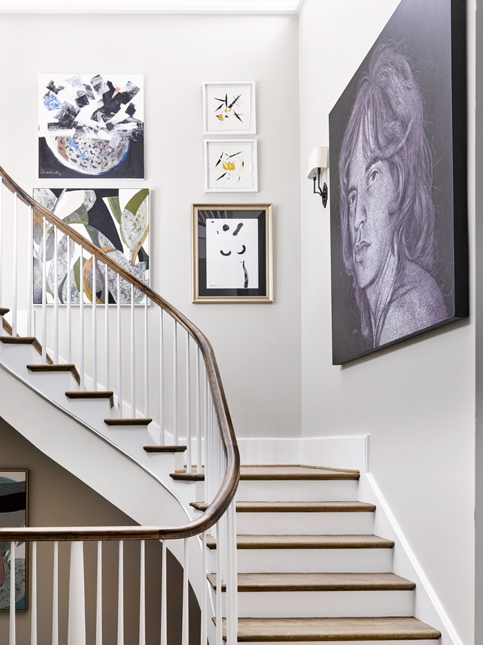 Stairway with art in Atlanta holiday showhouse 2017