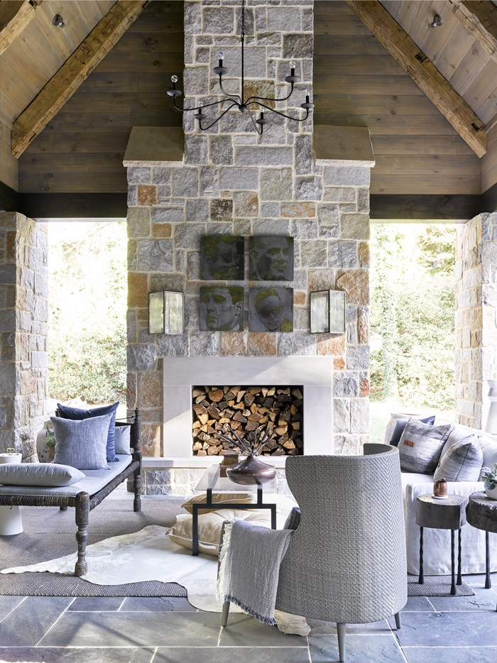 Stunning outdoor fireplace in Atlanta holiday showhouse 2017