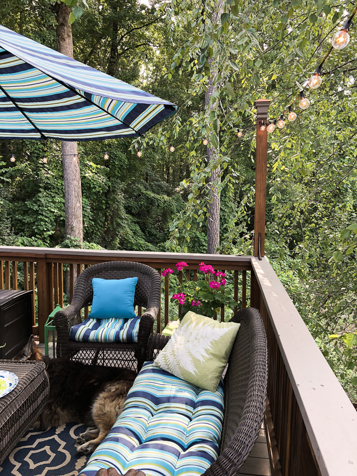 Adding Patio String Lights To The Deck, How To Put Up String Lights On Patio