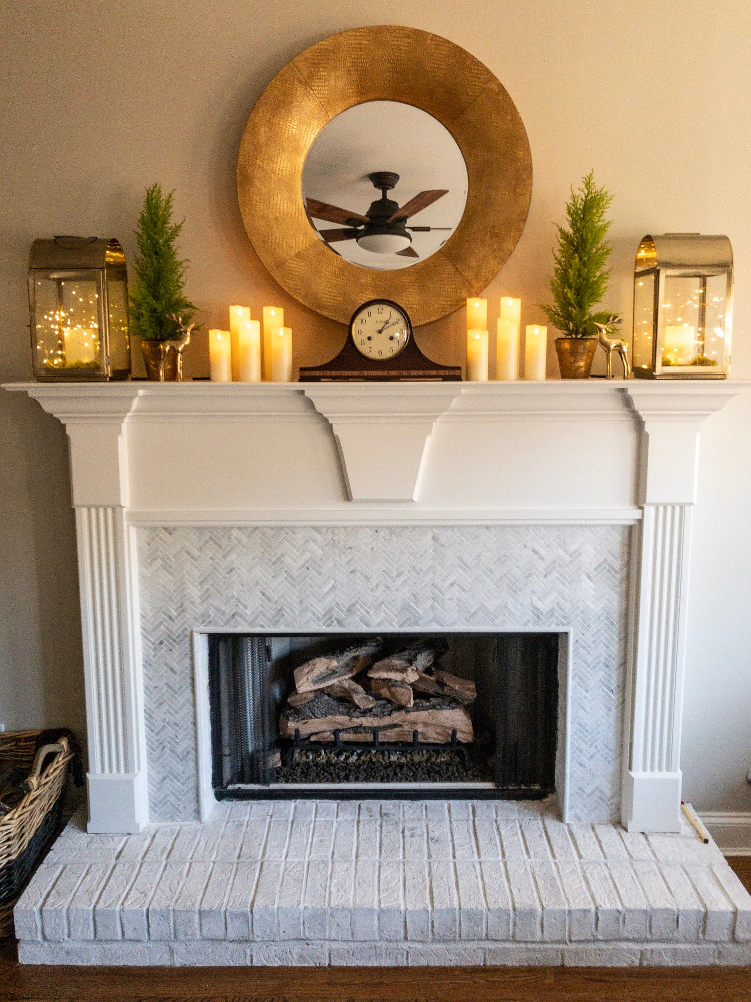 How To Add Herringbone Marble Tile To A Fireplace Southern Hospitality