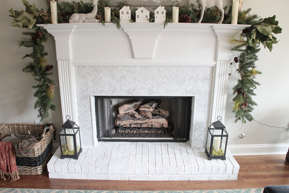 How To Add Herringbone Marble Tile To A Fireplace Southern