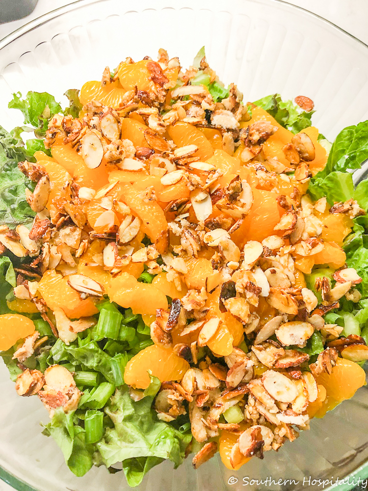 Mandarin orange tossed salad with candied almonds