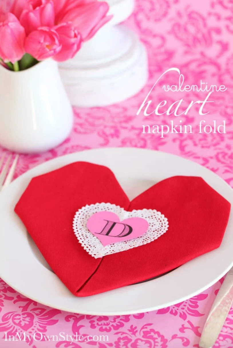 in my own style valentine heart napkin